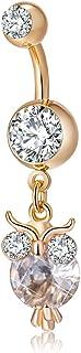 YAZILIND Oro Plateado Cuerpo Barras Piercing White Owl cubicos Zirconia Medico Acero Inoxidable Ombligo Anillo de Clavo Om...