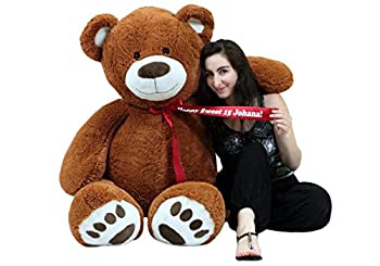 Personalized 5 Foot Teddy Bear Soft Life Size Big Plush Animal with Bigfoot Paws - Customized with Your Message