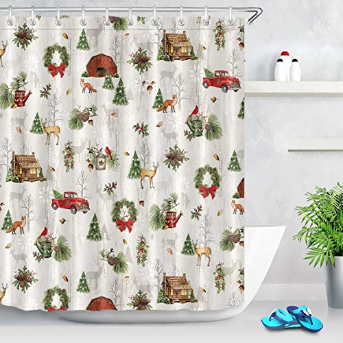 ECOTOB Christmas Shower Curtain, Rustic Wood Barn Farmhouse Xmas Red Truck Shower Curtains for Bathroom Waterproof Polyester Fabric with 12 Hooks, 72x72 Inch