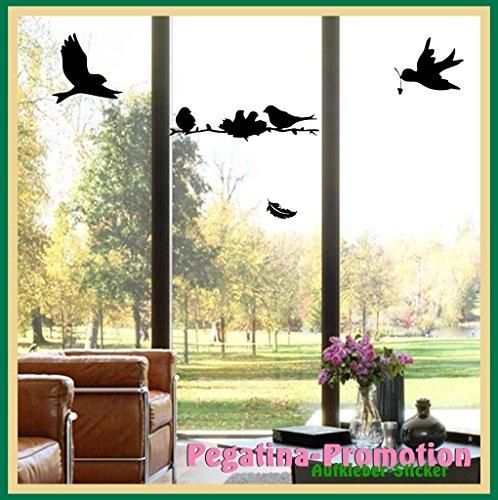 Vogelschutz für Glasscheiben, Vögel auf Ast mit Nest etwa 35cm, 2 fliegende Vögel 15cm plus Feder nutzbar als Wandtatto, Warnvögel gegen Vogelschlag, Schutz vor Glasbruch, Fensterschutz auch für Autos