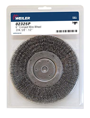Weiler 02325 6' Wolverine Medium Face Bench Grinder Wheel.014' Crimped Steel Wire Fill, 5/8'-1/2' Arbor Hole, Made in The USA