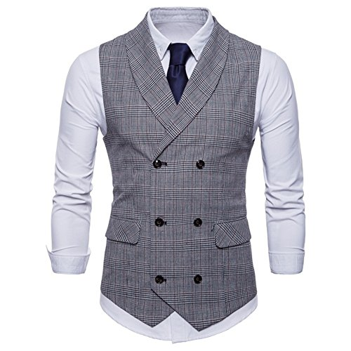 GWELL Herren Anzugweste English Style Kariert Slim Fit Business Basic Casual Weste Zweireiher Hellgrau XXL
