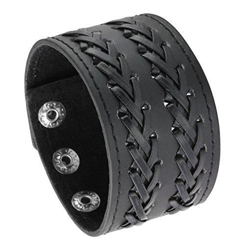 Milakoo Herren-Armband aus schwarzem und braunem Punkleder, verstellbares Manschettenarmband mit Druckknopf