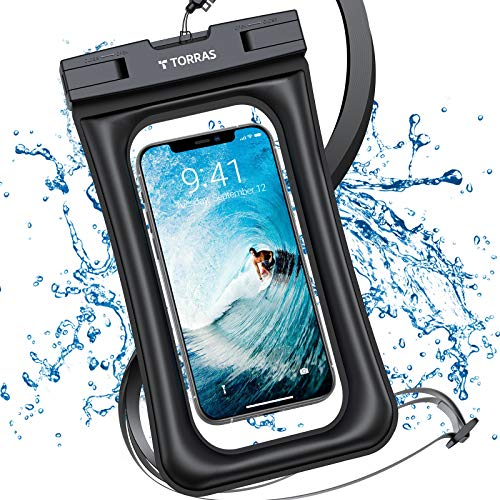 TORRAS 防水ケース 水に浮く IP68認証 クリア 顔認証 撮影 通話 画面操作 浮き輪 iPhone 12 Pro Max 11 XR SE Android 6.8インチ以下対応 海 温泉 風呂 プール 雨 潜水 スマホ用 防水バック ブラック