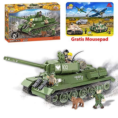 Juminox Konstruktionsspielzeug Rudy 102 T-34/85 Panzer Tanks Bausteine Bauklötze + Mauspad Gratis