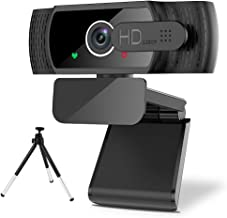 Webcam with Microphone - MAXKU 1080P HD Webcam with Privacy Cover and Tripod, Streaming Computer Web Camera with 110-Degre...