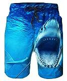 ALISISTER Costume Uomo Mare Cool 3D Squalo Stampare Pantaloncino Estate Holiday Pantaloncini Spiaggia da Surf con Fodera in Mesh M