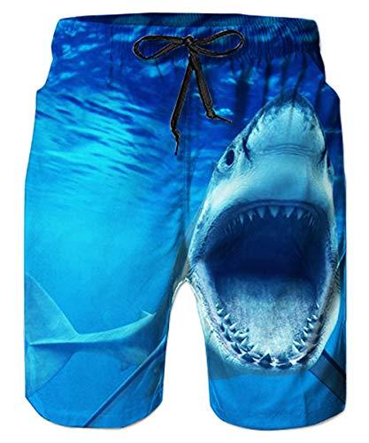 ALISISTER Bermuda Badehose für Herren Junge 3D Coole Blau Hai Badeshorts Männer Gedruckt Kordelzug Elastische Taille Strand Sporthose M
