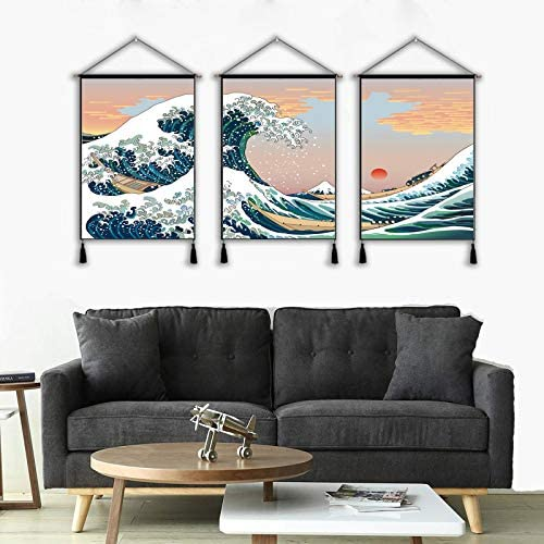 3 Panel Hanging Poster Japanese Traditional Art The Great Wave Off Kanagawa by Hokusai Ready product image