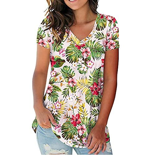 Verano Nueva Camiseta Floral De Manga Corta con Cuello En V Estampado De Manga Corta