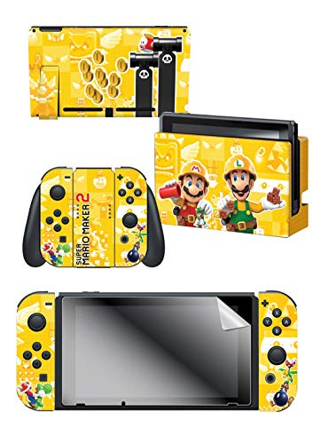Controller Gear Nintendo Switch Skin & Screen Protector Set - Super Mario Maker 2 - Builder Bros. - Nintendo Switch