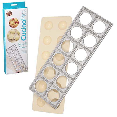 "Ravioli Mold with Extra Large 1 3/4"" Squares- Authentic Ravioli Tray and Press Makes 12 Italian Raviolis at a Once"