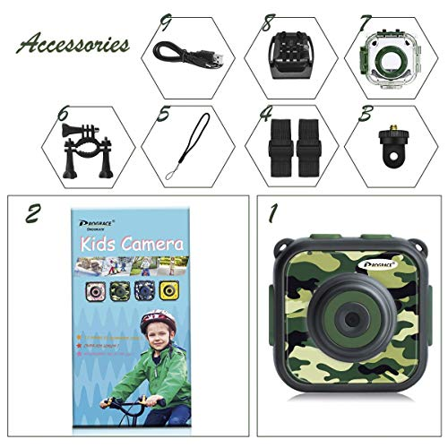 PROGRACE Children Kids Camera Waterproof Digital Video HD Action Camera 1080P Sports Camera Camcorder DV for Boys Birthday Holiday Gift Learn Camera Toys 1.77'' LCD Screen (Camouflage)