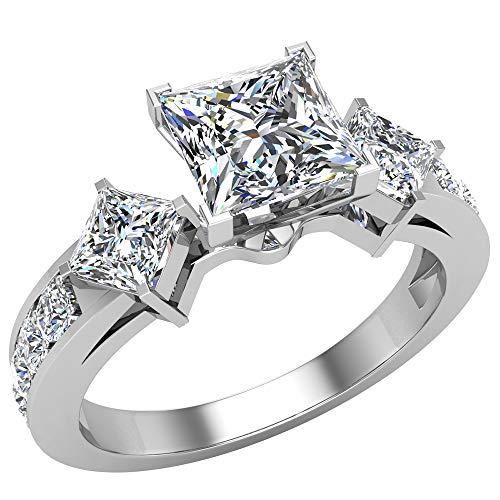 1.15ct TW principessa taglio diamante anello di fidanzamento in oro 18K (g, VS), Oro bianco, 10,5, cod. UGDR1021_0.50_PRN_VS_