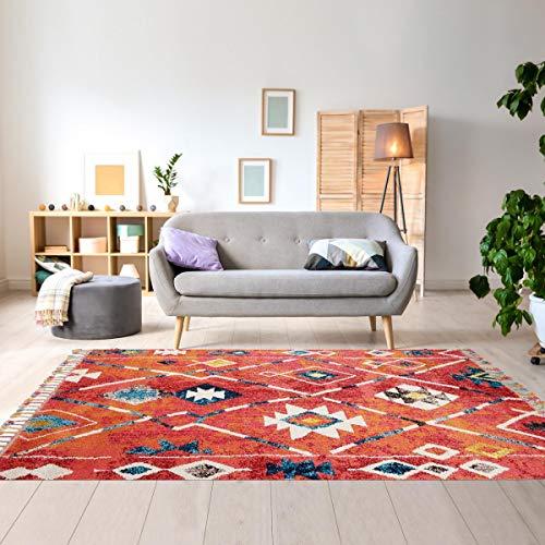 Tapis Style Berbère 120x170 cm Rectangulaire Berber Tribal MK 02 Rouge Salon adapté au Chauffage par Le Sol