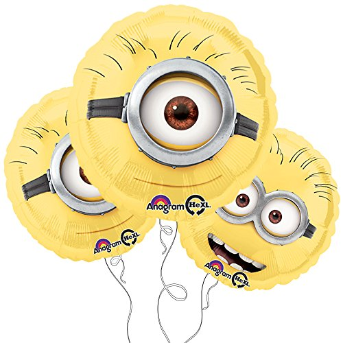 "AAAAA Despicable Me Minion 18"" Round Mylar Balloon 3pk"