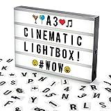 Cosi Home™ A3 Lightbox, Lichtbox, Leuchtkasten mit 120 Buchstaben, Emojis und Symbolen - zum...
