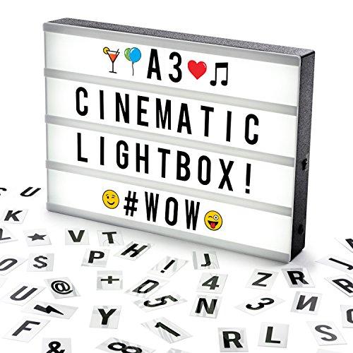 Cosi HomeTM Lightbox, met letters, emojis en symbolen - voor het individueel vormgeven van berichten - LED decoratieve lichtbak in vintage bioscoopdesign | USB en batterij