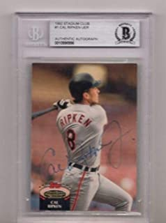 1992 Stadium Club Cal Ripken Jr. Signed Card Beckett Authentic Autograph - Beckett Authentication - Baseball Slabbed Autographed Cards