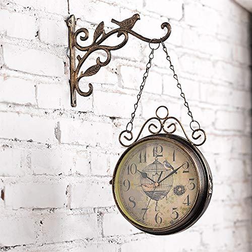 HYwot Retro-Garten-Uhr für draußen im Design Paddington-Station, Wanduhr, doppelseitig mit Außenhalterung