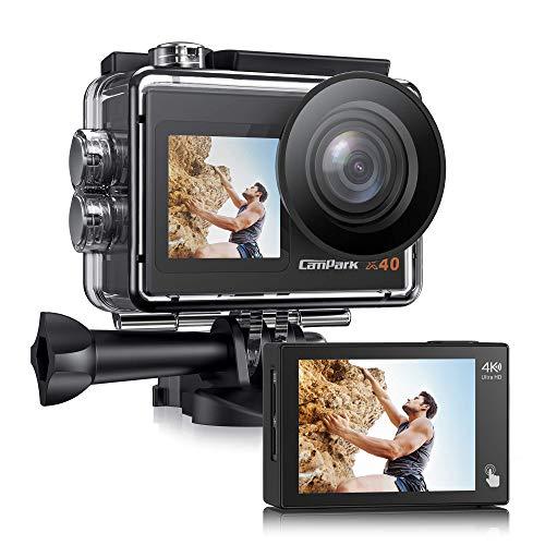 Campark Cámara de acción X40 con doble pantalla 4K 20 MP, Wi-Fi, 40 m, resistente al agua (mando a distancia 2,4 G, micrófono externo, cámara para casco, 2 baterías de 1350 mAh)