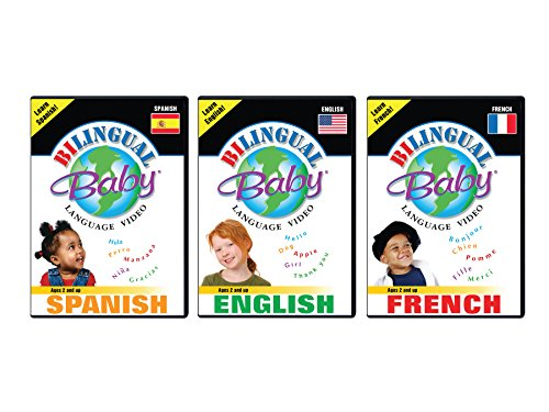 Bilingual Baby Learn Spanish, Learn French and Learn English Language DVDs Set of 3