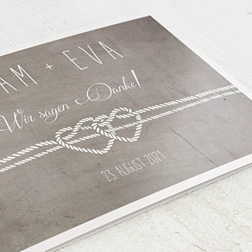sendmoments Hochzeit Danksagung, Seile, 5er Klappkarten-Set C6, personalisiert mit Wunschtext, wahlweise mit persönlichen Bildern, optional mit passenden Design-Umschlägen