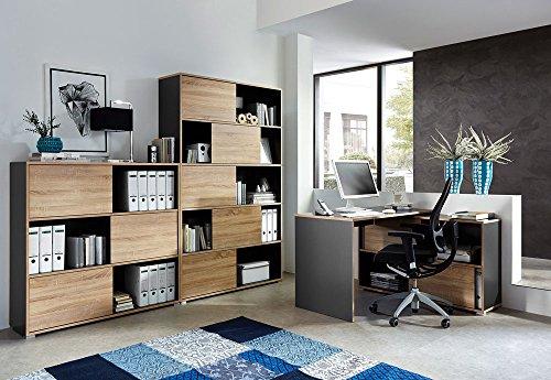 lifestyle4living Büromöbel, Set, Büroeinrichtung, 3-TLG, Eckschreibtisch, Schiebetürenregal H: 196 cm, Schiebetürenregal H: 119 cm, Anthrazit/Sonoma-Eiche Nachb.