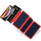 POWOBEST Chargeur Solaire Batterie Externe 20000mAh Power Bank Portable Étanche avec Chargeur à Induction sans Fil, 3 Panneaux Solaire, 2 Ports USB pour Téléphone iPhone Samsung Huawei