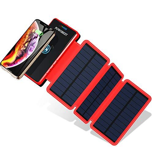 POWOBEST 20000mAh Solar Powerbank, Wireless Tragbare Ladegerät mit 3 Solarpanels, Outdoor Wasserdicht Externer Akku mit 2 USB Ausgängen, LED-Licht & Haken für iPhone Samsung, HuaWei Tablet, Kamera usw