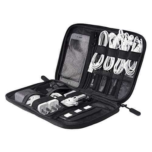 YXZQ Travel Electronic Zubehör Tasche, Kabel ordentliche Aufbewahrungstasche Klein für USB-Sticks, Ladekabel, Powerbank, SD-Karten, Drive Shuttle, Schwarz