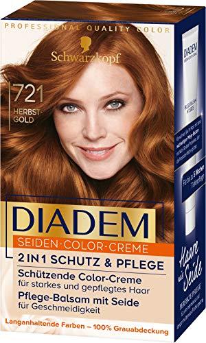 Schwarzkopf Diadem Seiden-Color-Creme, hochwertige Haarfarbe 721 Herbst-Gold, 3er Pack (3 x 170 ml)