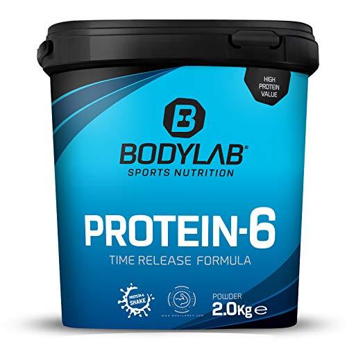 Protein-6 de Bodylab24 2 kg | Polvo de proteína multicomponente con 6 fuentes de proteína de alta calidad | Apto para muscular o como batido de dieta | Batido de proteína sin gluten | Chocolate