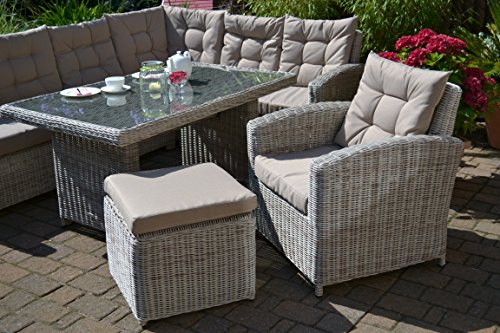 "Ecklounge Manhattan (Ecksofa ""links"" + Tisch + Sessel + Hocker) großes Rattan Gartensofa Lounge Polyrattan sand grau natur für 6-8 Personen - 3"