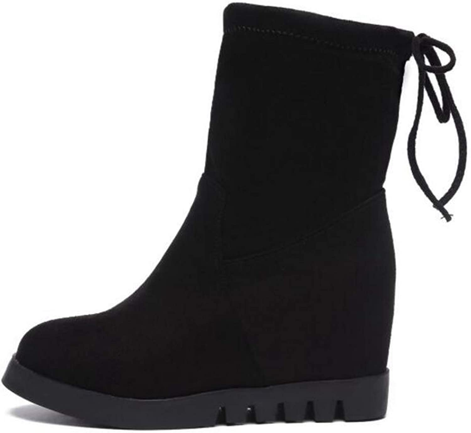 LVYING Winter Mid Calf Booties Women Round Toe Slip-On Butterfly-Knot Height Increasing Warm Boots