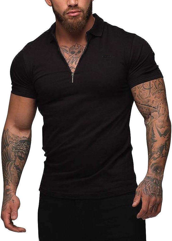 VEKDONE Mens Shirts Short Sleeve Slim Fit Zipper Henley Shirt Classic Big and Tall Mens Cotton Polo Shirts Summer Tops