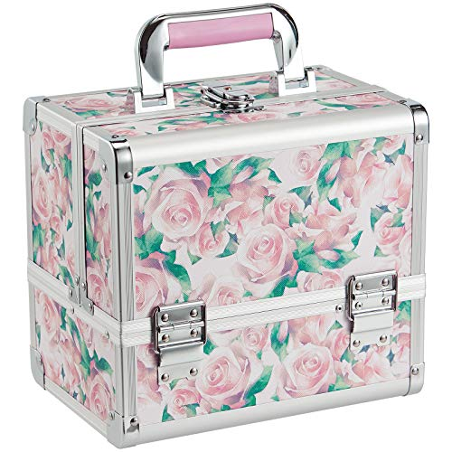 Joligrace Makeup Box Cosmetic Train Case Jewelry Organizer Lockable with Keys and Mirror 2-Tier Tray Portable Carrying Travel Storage Box with Handle Rose Flower Pattern