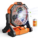 Rechargeable Tent Fan with Lantern 10400mAh Battery Operated Personal Fan with Hanging Hook / USB Charger / LED Light Portable Cordless for Camping Jobsite Bedroom Outdoors