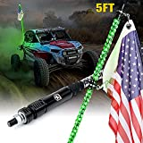 Xprite 5FT Spiral Green LED Whip Lights Flag Pole Safety Antenna w/ U.S. Flag for Offroad Jeep Sand Dune Buggy UTV ATV 4X4 Polaris RZR Truck Yamaha Can am Maverick X3