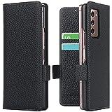 Miimall Schutzhülle Kompatibel mit Samsung Galaxy Z Fold 2/W21 Hülle Leder mit Kartenschlitzen & Ständer Funktion,Magnetverschluss Kratzfest PC Lederhülle für Samsung Galaxy Z Fold 2/W21- Schwarz