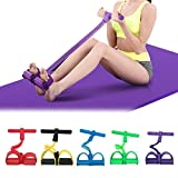 CWM Pedal Resistance Band Super Light 4-Tube Yoga Strap Elastic Pull Rope Fitness Equipment for Sit-up Bodybuilding Expander Abdomen Workout Arm Stretching Slimming Training Blue