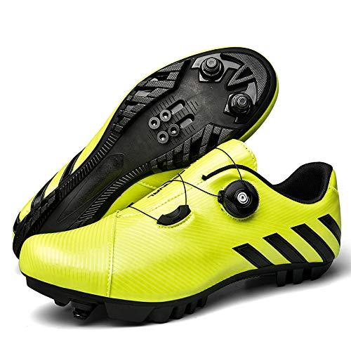 Zapatillas de Ciclismo MTB,Zapatos de Ciclismo de Montaña para Adulto,SPD Road Bike Shoes Calzado de Ciclismo Al Aire Libre Transpirable para Hombres y Mujeres,Green-40