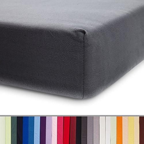 Lumaland Comfort Jersey Spannbettlaken 100% Baumwolle mit Rundum-Gummizug 160g/m² 60 x 120 cm - 70 x 140 cm Frostgrau