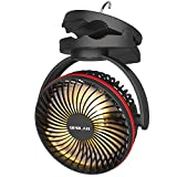 OPOLAR 5000mAh Camping Lantern Clip On Fan with Hanging Hook, 4 Speeds Quiet Airflow Personal Fan with 35 Hours Work Time for...
