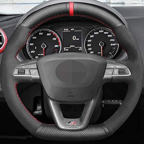 WANGXI Couvre-Volant de Voiture Cousu à la Main Couvre-poignée Automatique,pour Seat Leon Cupra R Leon St Cupra Leon St Cupra Ateca Cupra Ateca FR