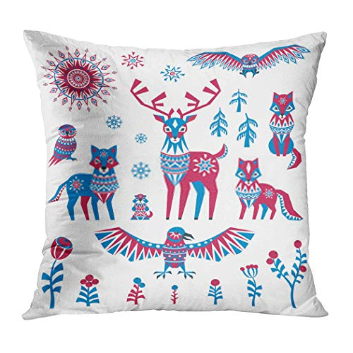 Menmek Throw Pillow Cover Print Crow Arctic Animals and Plants in Ethnic Style Colorful a White Background 16 x 16 Inch Pillow Case Home Car Sofa Office Meeting Room Decor Cushion Pillowcase Gift