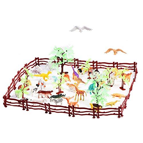 Naroote Kunststoff Tier Modell Set,Kunststoff Tier Zaun Spielzeug 68 Teile/Satz Simulation Kunststoff Zoo Wilde Tiere Zaun Baum Modell Kinder Kinder Spielen Spielzeug Set