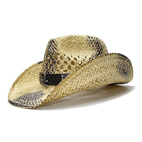 WANGXINQUAN Schwarzer Sommer Retro Damen Herren breitrandiger Sonnenhut Strohhut Cowgirl Cowboy Westernhut Hohlledergürtel (Farbe : 1, Größe : 56-58CM)