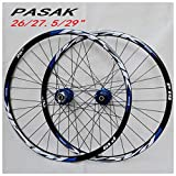LHHL Juego Ruedas Bicicleta 26 27.5 29 Pulgadas MTB Llantas Aleación Doble Pared Freno Disco QR Cassette Fiywheel Hubs Rodamiento Sellado 7-11 Velocidad 32H (Color : B, Size : 29')