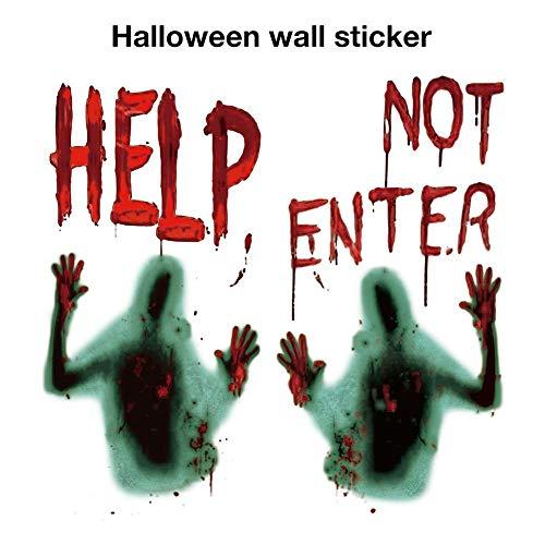 flower205 2 STÜCKE Halloween fensterbilder, Vampire Horror Zombie Aufkleber, Halloween Party Wandaufkleber Halloween Poster Dekoration Halloween Riesen Blutige Fenster Poster